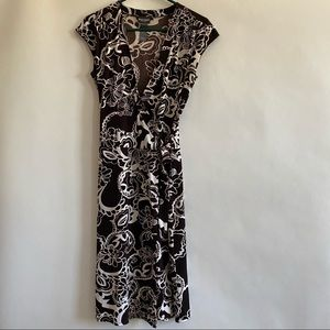 Brown and cream floral wrap dress size 6